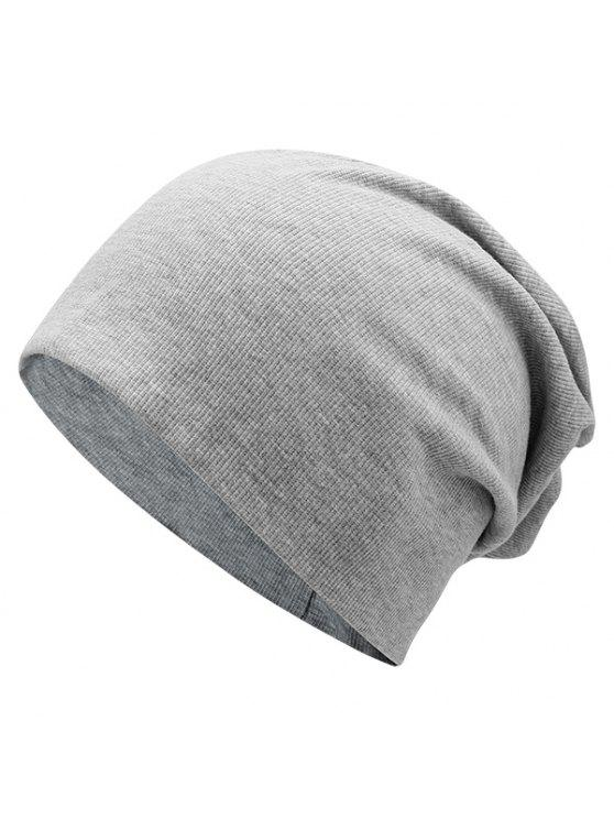 latest Plain Fall Knitted Pinstriped Beanie Hat - LIGHT GRAY