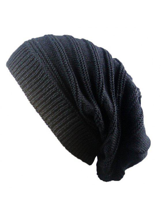 Bonnet Tricoté Côtelé à Rayures Superposées - Noir