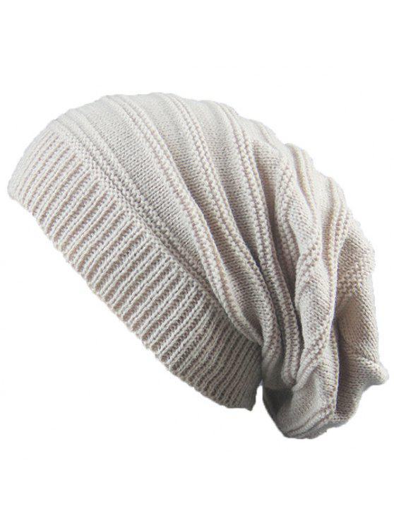 fancy Striped Ribbing Knitting Stacking Beanie Hat - BEIGE