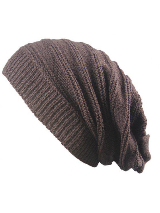 Cappello a strisce di maglieria a maglia a righe a righe - Caffè