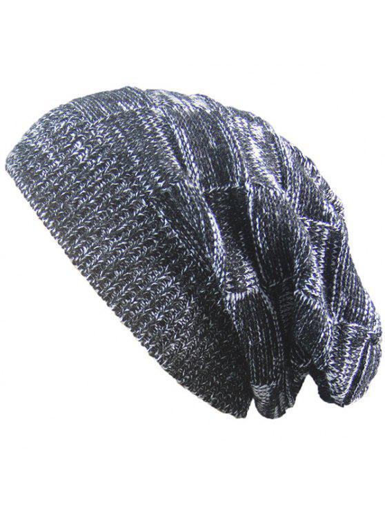 Cappello caldo in raso a maglia a righe - Nero