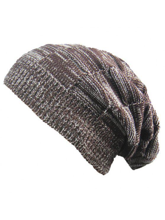 fashion Striped Rib Knitting Warm Beanie Hat - COFFEE