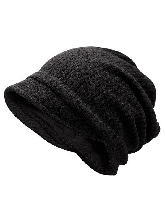 chic Striped Knitted Warm Beanie Hat - BLACK