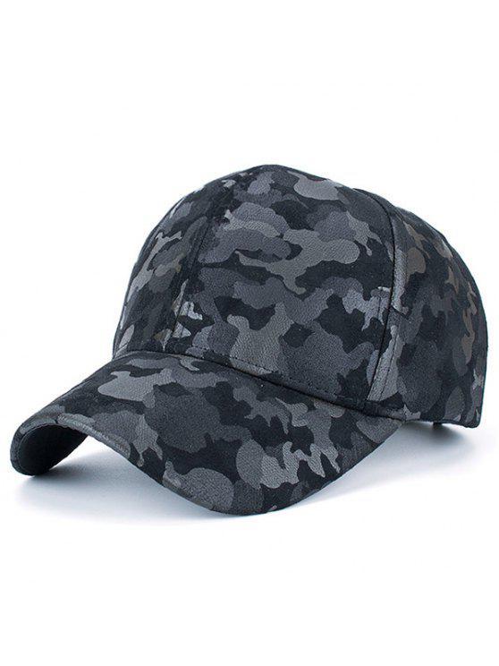 Motivo Mimetico in Finta Pelle Scamosciata Modello di Camuffamento Cappello da Baseball - Nero