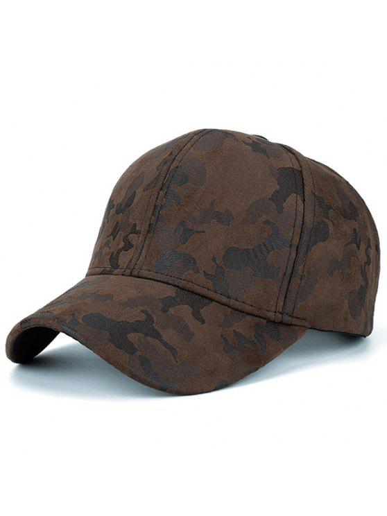 hot Faux Suede Camouflage Pattern Baseball Dad's Hat - COFFEE