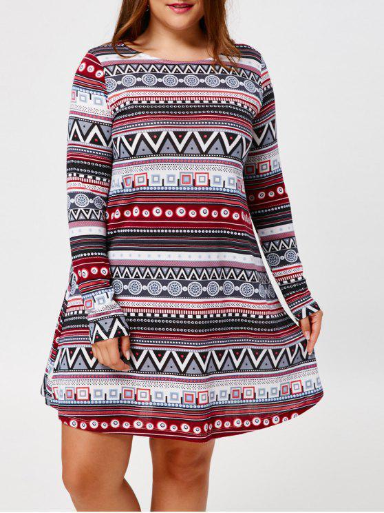 cf932e2e811f0 2019 Tribal Plus Size Long Sleeve Tunic Dress In COLORMIX 5XL