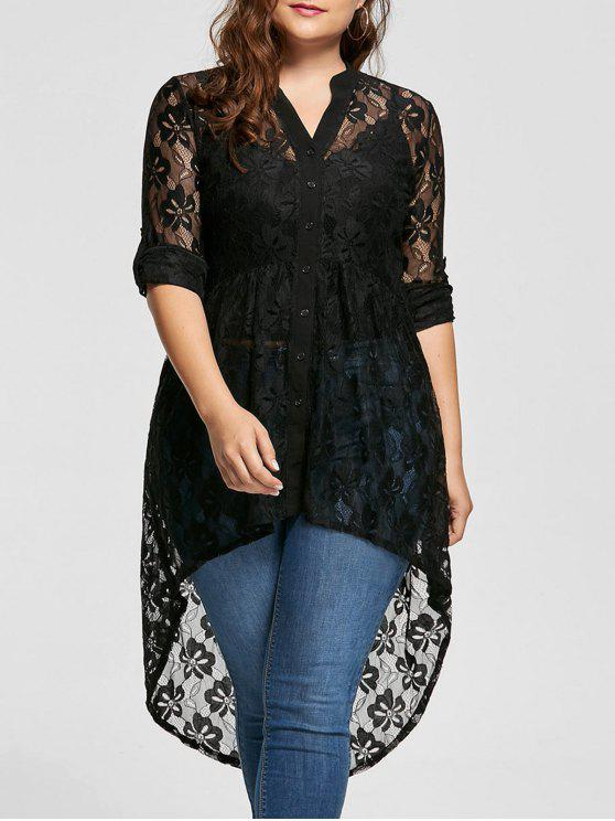2018 Long Sleeve High Low Lace Plus Size Top In Black 5xl Zaful