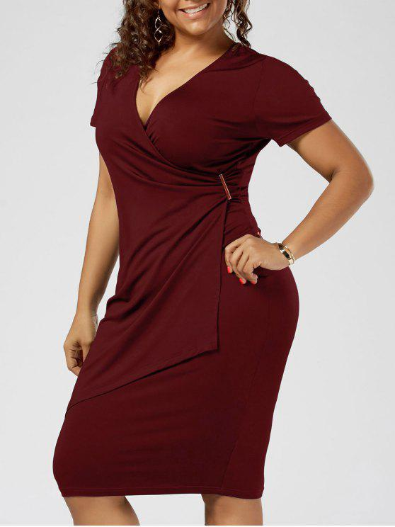 Super Size Overlap Plain Tight Surplice V Neck Sheath Dress - Vinho vermelho 2XL