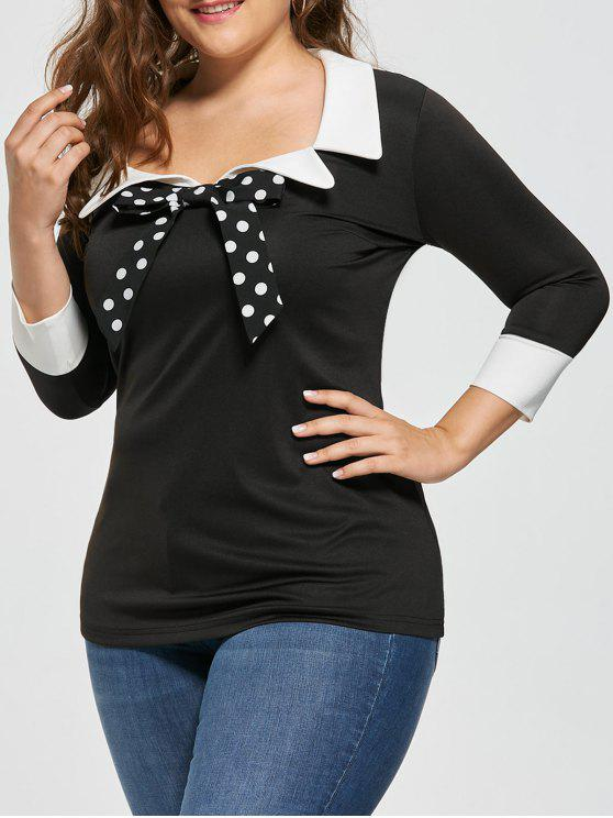 outfits Plus Size Bow Tie Two Tone Blouse - BLACK 4XL