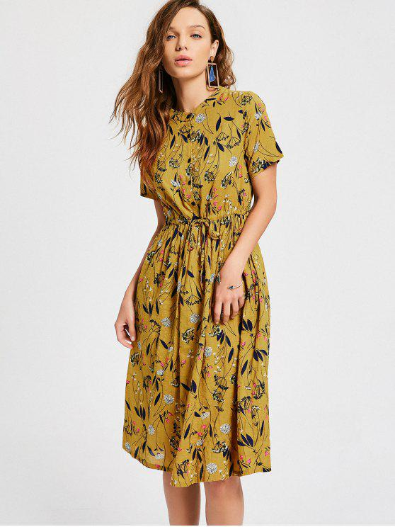 Vestido de Estampa Floral com Cordão - Amarelo Gengibre L