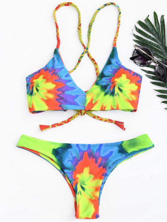 49900080fa525b 17% OFF] 2019 Tie Dye Braided Criss Cross Bikini Set In YELLOW | ZAFUL