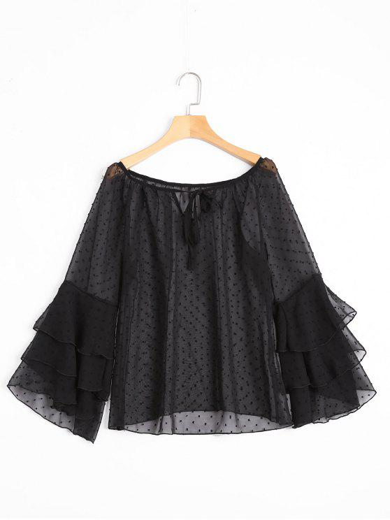 outfit Tiered Flare Sleeve Embellished Sheer Blouse - BLACK S