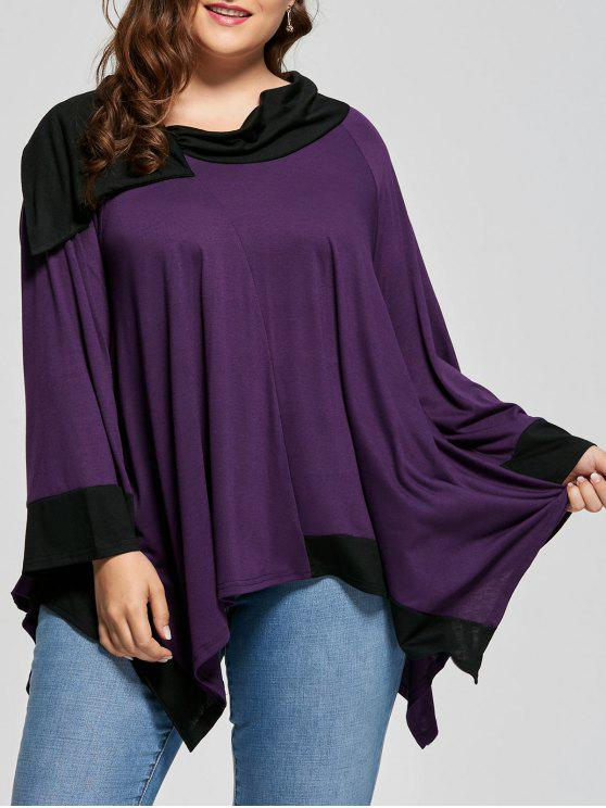 latest Two Tone Asymmetric Plus Size Long Sleeve Tee - DEEP PURPLE 3XL