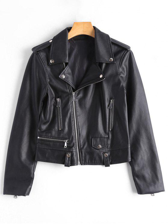 best Asymmetric Zipper Faux Leather Biker Jacket - BLACK S