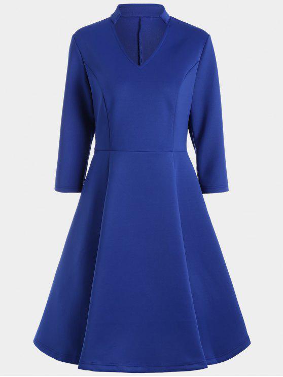 فستان ثلاثة أرباع طول الأكمام الرقبة V - أزرق M