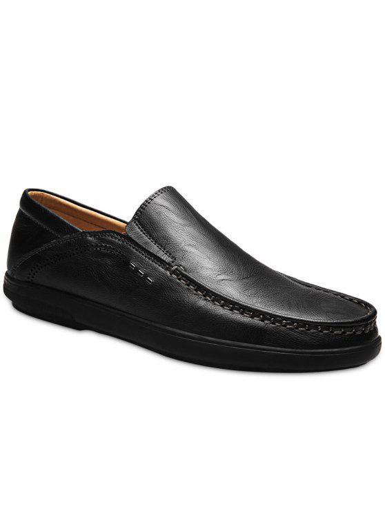 رجل-- صنع الجلود الانزلاق على الأحذية - أسود 41