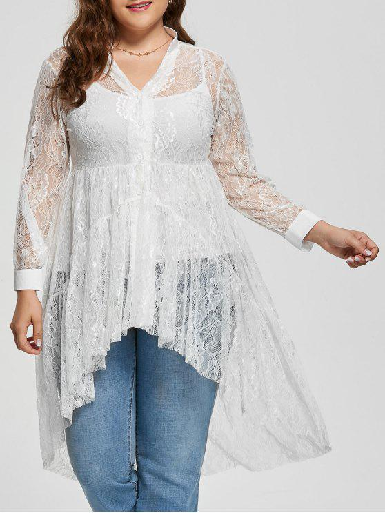 9309069e4 28% OFF] 2019 Lace High Low Long Sleeve Plus Size Blouse In WHITE ...
