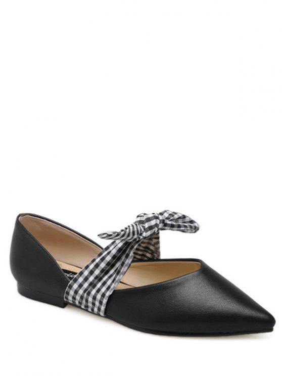 Faux cuero punta dedo del pie atar hasta zapatos planos - Negro 37