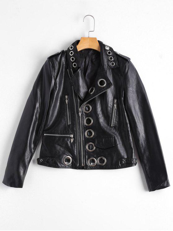 ladies Hollow Out Ring Embellished Faux Leather Jacket - BLACK S