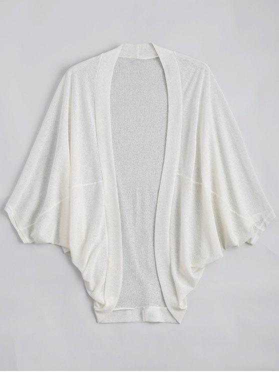 unique Plus Size Semi Sheer Batwing Sleeve Collarless Top - WHITE 3XL