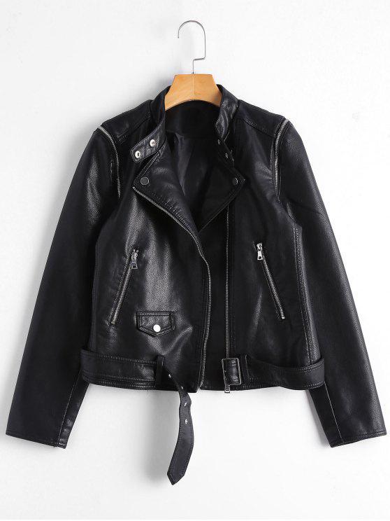 hot Asymmetric Zipper Belted Convertible Faux Leather Jacket - BLACK M