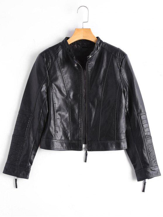 fancy Zippered Faux Leather Jacket with Invisible Pockets - BLACK M