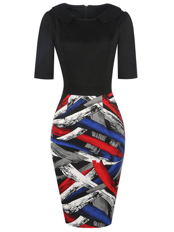 فستان ضيق رسمي كتلة اللون - أسود XL