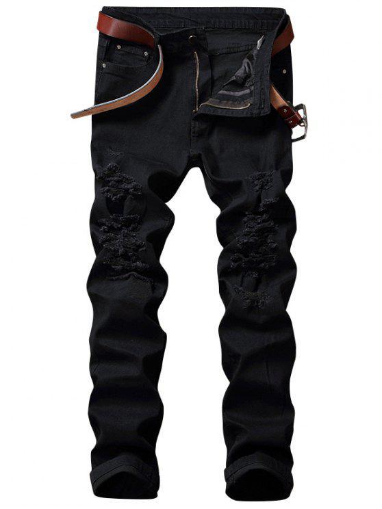 Jeans trasparenti con tracolla estrema - Nero 40