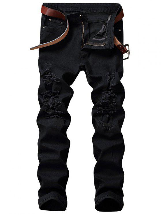 Zip Fly Straight Jeans with Extreme Rips - Preto 42