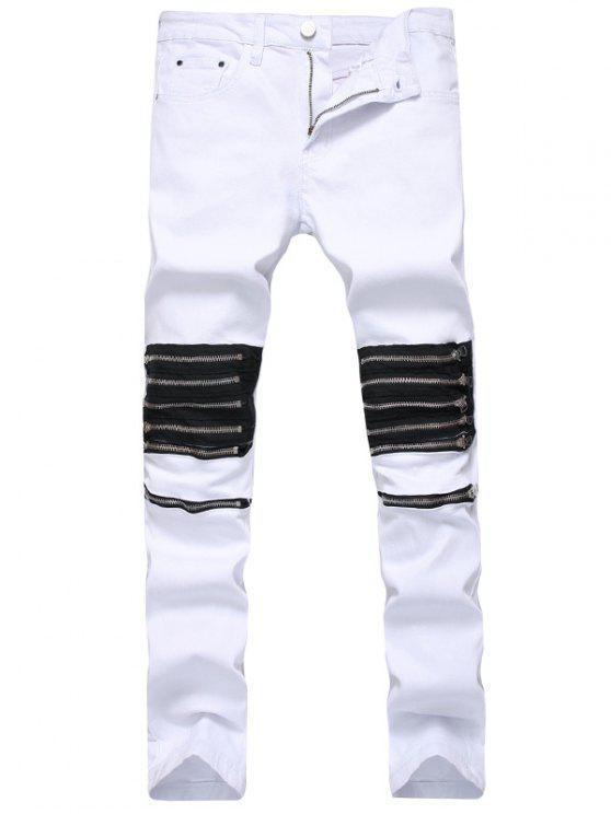 Multi Zippers Panel Slim Fit Jeans - Branco 34