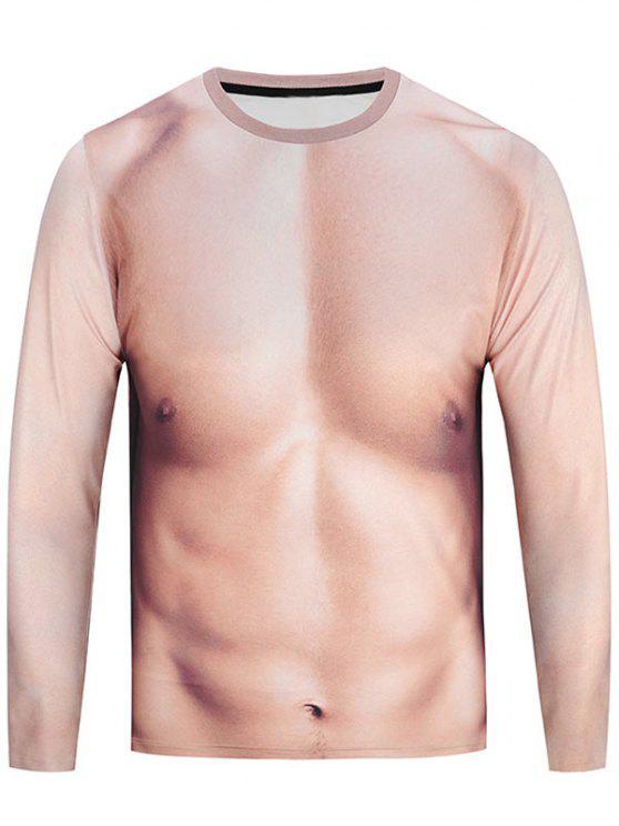 T engraçado engraçado do pescoço da tripulação 3D do músculo - Rosa Amarelado XL