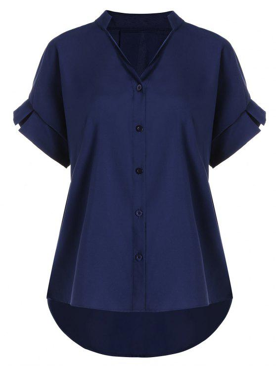 fancy Button Up V Neck Plus Size Blouse - PURPLISH BLUE 4XL