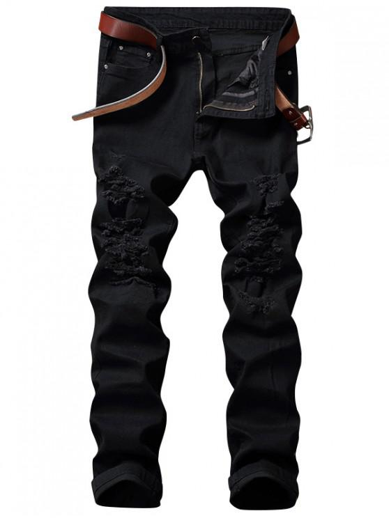 Zip Fly Straight Jeans with Extreme Rips - Preto 36