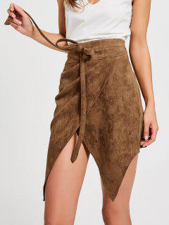 Bowknot High Waist Faux Suede Skirt - Dark Khaki L