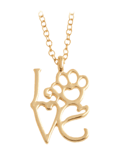 Heart Love Paw Footprint Pet Necklace - Golden