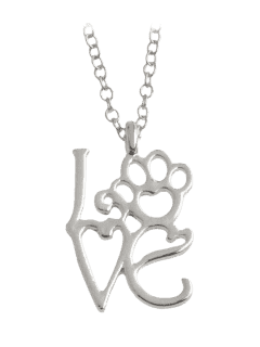 Heart Love Paw Footprint Pet Necklace - Silver