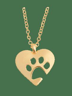 Heart Claw Footprint Pendant Necklace - Golden