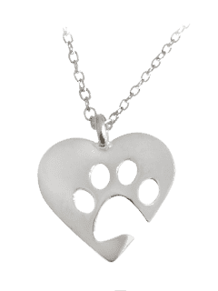 Heart Claw Footprint Pendant Necklace - Silver