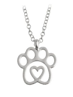 Heart Claw Footprint Pet Necklace - Silver