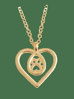 Teardrop Claw Footprint Heart Necklace - Golden