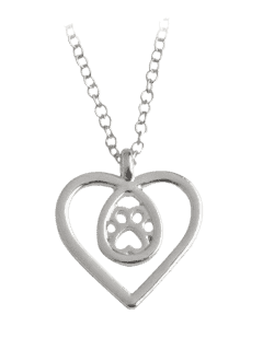 Teardrop Claw Footprint Heart Necklace - Silver