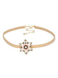 Rhinestone Flower PU Leather Choker - Champagne