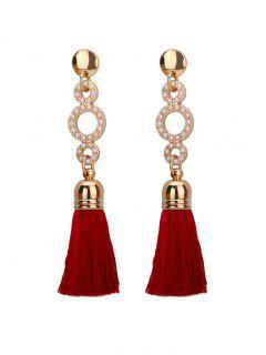 Beaded Circle Tassel Long Earrings - Wine Red