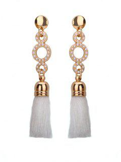 Beaded Circle Tassel Long Earrings - White