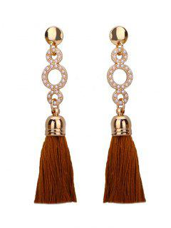 Beaded Circle Tassel Long Earrings - Coffee