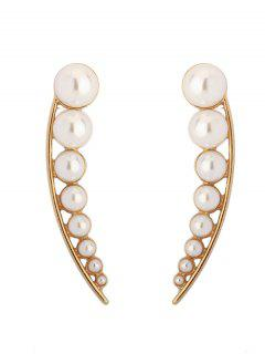 Faux Pearl Pea Shape Stud Earrings - Golden