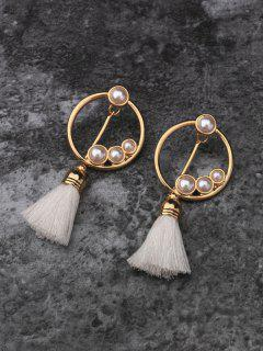 Faux Pearl Tassel Pendant Earrings - Golden