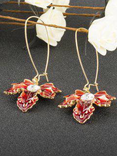 Maple Leaf Oil Drip Fish Hook Earrings - Wine Red