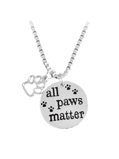 Footprint Round Engraved Paws Pendant Necklace - Silver