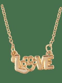 Pet Love Heart Claw Footprint Necklace - Golden